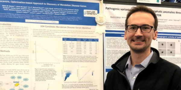 Adam Hansen, graduate student in molecular and human genetics at Baylor College of Medicine, presents his work at the American Society of Human Genetics.